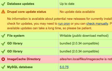 System status UI